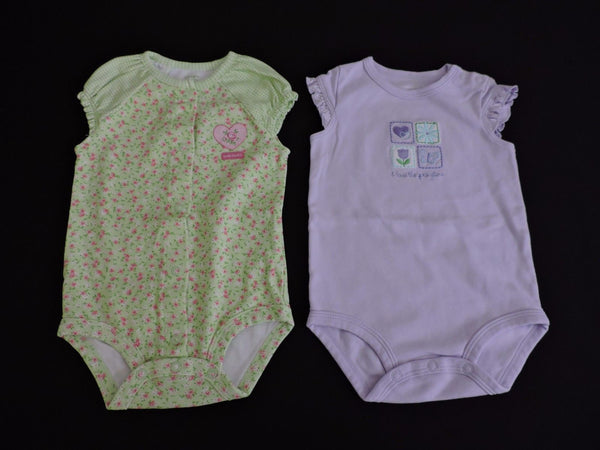 Carters Baby Girl One Piece Lot of 2 Green Lavender Floral Spring Layer 9M EUC