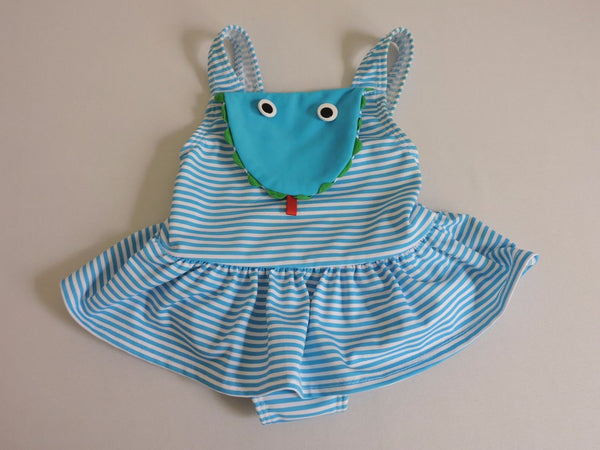 Big Fish Sweet Potatoes Bathing Suit Swimsuit Button Eyes Blue White Stripes 12M
