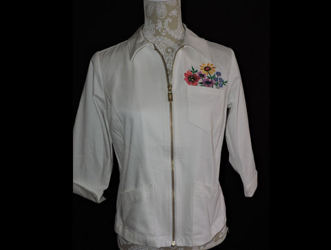 Bob Mackie Wearable Art Embroidered White Jacket Sz XS Spring Summer Flowers