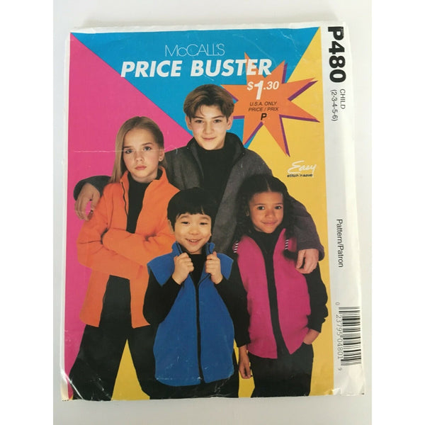 McCalls P480 Sewing Pattern Kids Fleece Jacket Vest Front Zipper Collar UC 2-6