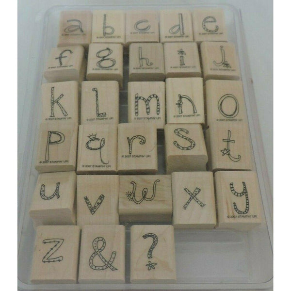 Stampin Up Doodle Alphabet Lowercase Mounted Stamp Set 2007 Letters Kids Crafts