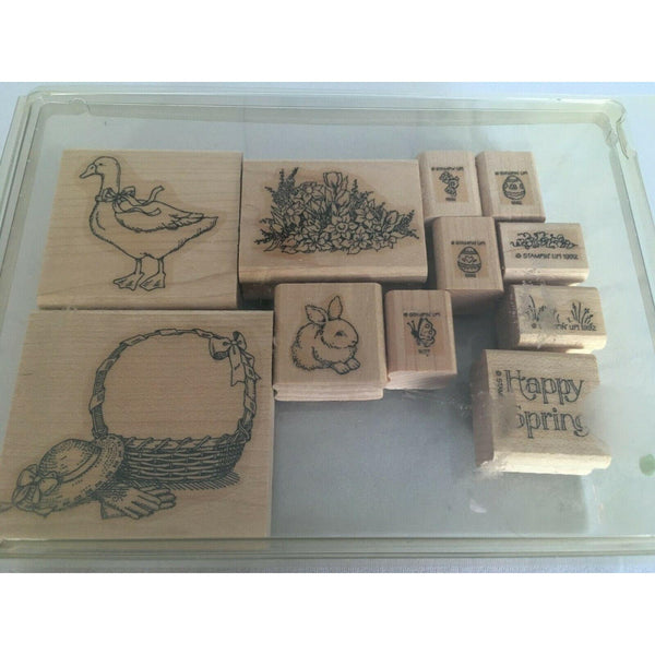 Stampin Up Easter Eggs Happy Spring Rabbit Duck 1992 Mounted Stamps Set of 11
