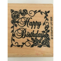 Stampin Up Small Victorian Greetings Rubber Stamp Happy Birthday Roses Words Art