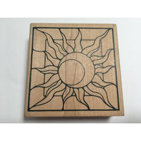 Judikins Day & Night Sun Moon Square Abstract Rubber Stamp Card Making Craft Art