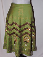 Basil & Maude Green Sequin Boho Festive Beaded Skirt Sz 4 Silver Collection