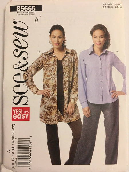 Butterick See & Sew Pattern B5665 Misses Button Down Top Blouse Shirt Sz 6-22 UC