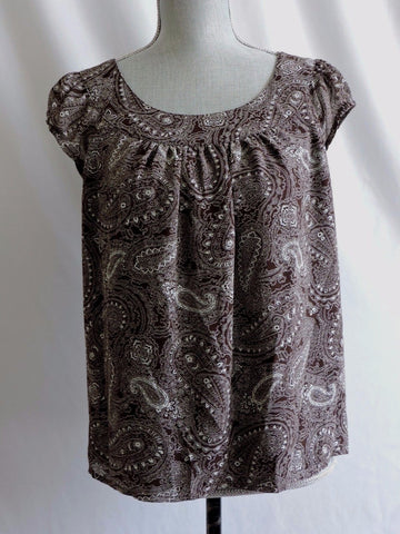 Anne Klein Brown Paisley Blouse Top Career Lined Shirt Cap Sleeves Size Medium M