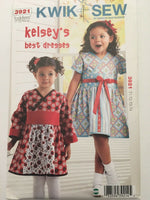 Kwik Sew 3921 Girls Kelseys Best Dress Toddler Sz 1 2 3 4 Lapped Front UC Easy