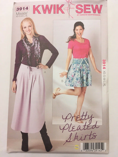 Kwik Sew Pattern 3914 Pretty Pleated Skirts Easy Modest Sz XS S M L XL UC