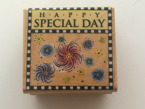 Hero Arts Checkerboard Special Day Rubber Stamp Happy Birthday Gift Tag Craft