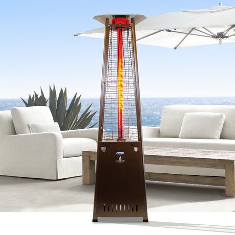 Lava Heat 2G Triangle Flame Tower Heater, 92.5″, 66,000 BTU, Remote Control, Push Button Ignition, Heritage Bronze, Liquid Propane - ASSEMBLED