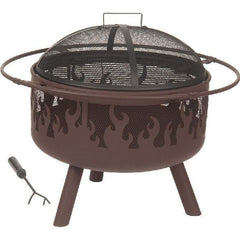 Alpine Flame 32-Inch Brown Steel Portable Wood Burning Fire Pit With Flame Design - M&K Grills