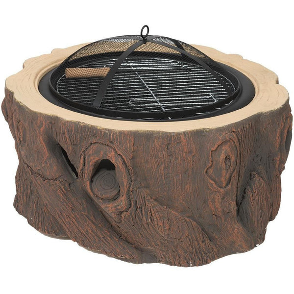 Alpine Flame 28 1/2-Inch Wood Stump Design Wood Burning Fire Pit With Accessories - M&K Grills