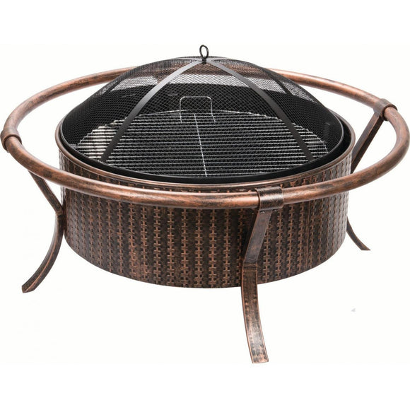 Alpine Flame 37-Inch Copper And Black Wood Burning Fire Pit With Weave Design - M&K Grills