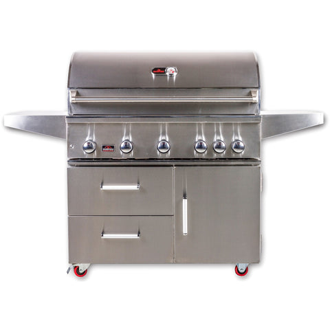 Bonfire 42-Inch 5 Burner Cart Gas Grill W/ Rotisserie Kit - M&K Grills