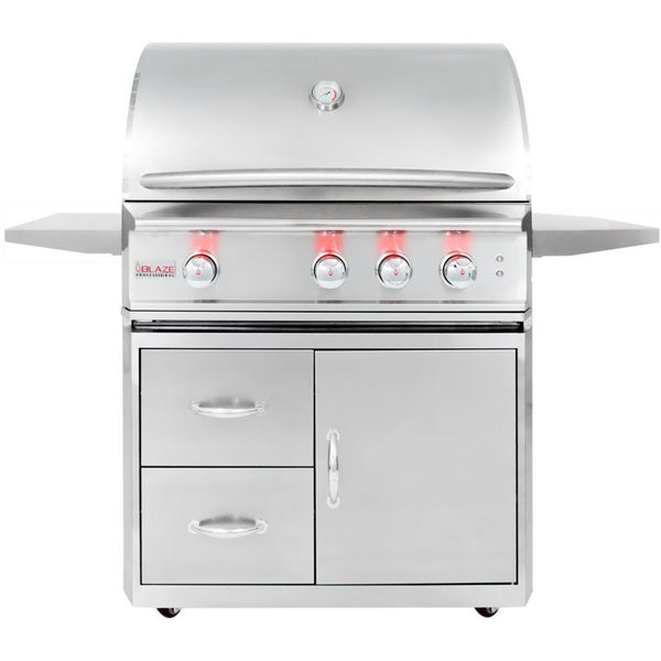 "Blaze 34"" Pro 3 burner Infrared w/Cart SKU BLZ-3PRO+BLZ-3PRO-Cart - Front Closed"