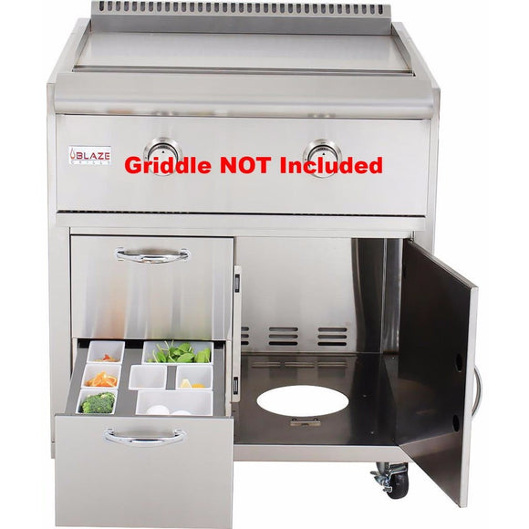 Blaze Cart for Gas Griddle SKU BLZ-GRIDDLE-CART (Griddle NOT Included) - Front Doors Open