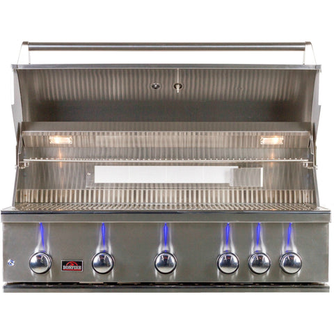 Bonfire 42 Inch 5 Burner Built In Gas Grill W/ Rotisserie Kit - M&K Grills