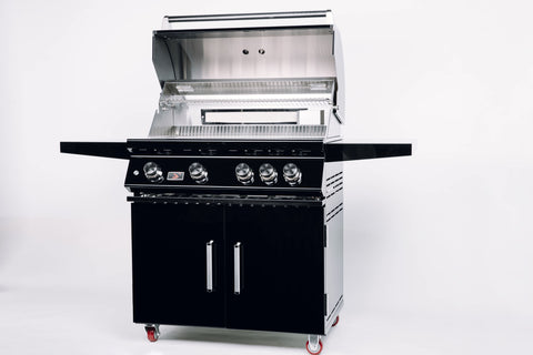 Bonfire-Black-Stainless-Steel-34-and-4-Burner-grill-on-cart-with-rotisserie-kit-Black-Series-CBF4DD-B-Open-lid