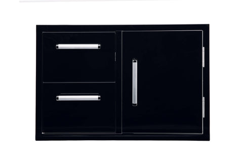 Bonfire-Black-stainless-steel-outdoor-kitchen-and-BBQ-island-Door-and-double-Drawer-Combo-Black-Series-CBADC-B