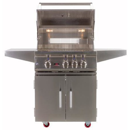Bonfire 28 Inch 3 Burner 867072000280 with Rotisserie Kit on cart - front open
