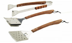 Bull Outdoor Grill Accessories Vineyard Hardwood 3PC BBQ Tool Set - 24100