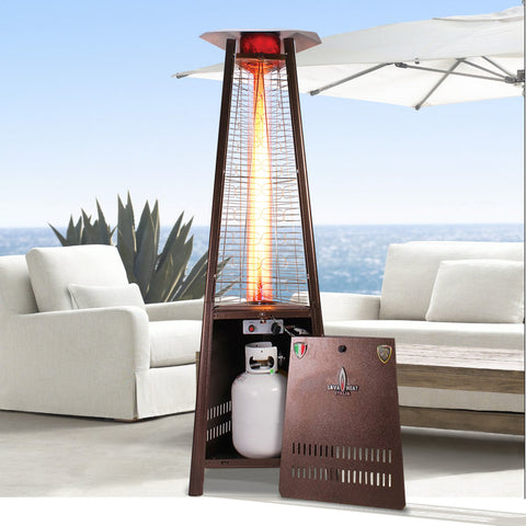 Lava Heat Capri Triangle Flame Tower outdoor patio heater 6 feet tall Propane or Gas