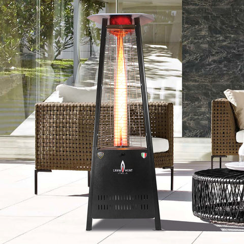 Lava Heat Capri Triangle Flame Tower Heater, 72.5″, 42,000 BTU, Electronic Ignition, Hammered Black, Natural Gas - ASSEMBLED