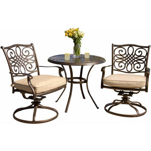 Hammond Adams 3pc outdoor dining set 2 swivel rockers and round table - M&K Grills