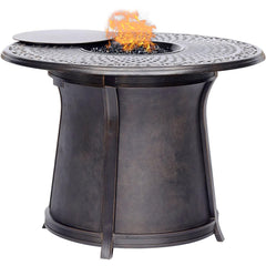 Hanover 5pc High Fire Pit Set 6 Swivel Chairs 48-Inch Round Cast Top Fire Pit Tbl