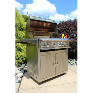 Heat 32-Inch 4-Burner HTS-432-LPC Propane Grill on Cart - M&K Grills