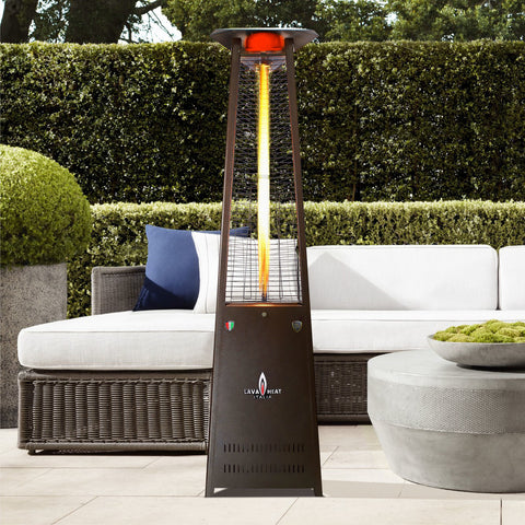 Lava Heat Lava lite Triangle Flame Tower Heater, 92.5″, 56,000 BTU, Electronic Ignition, Hammered Black, Natural Gas - ASSEMBLED