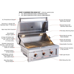 Sunstone Ruby 3 Burner Prosear 30-Inch Ruby3B