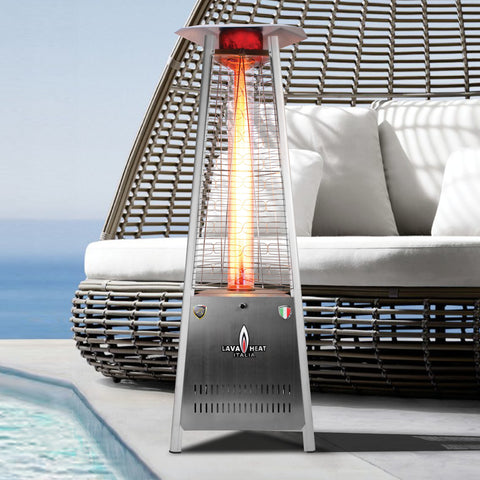 Lava Heat Capri Triangle Flame Tower Heater, 72.5″, 42,000 BTU, Electronic Ignition, Stainless Steel, Natural Gas - ASSEMBLED