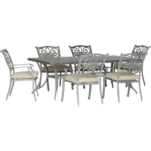 Hanover traditions 7 piece 6 dining chairs 38x72 inch cast table TRADDNG7PC-BLU