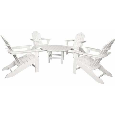 Hanover All-Weather 5pc Ad Chat Group 4 Ad Chairs 1 38-Inch Table