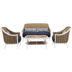 Hanover Athens 4pc Seating Set 1 Sofa 2 Chairs 1 Tile Top Woven Coffee Table - M&K Grills