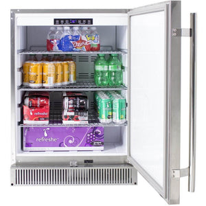 Outdoor rated stainless 24-Inch fridge 5.2 SKU BLZ-SSRF-50DH - M&K Grills