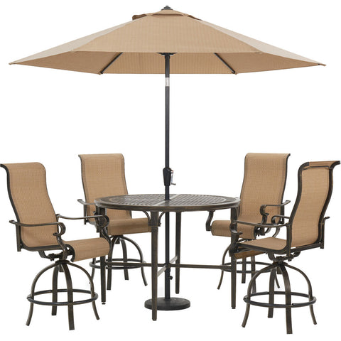 hanover-brigantine-5-piece-4-swivel-bar-chairs-50-inch-round-bar-table-umbrella-and-base-brigdn5pcbr-su