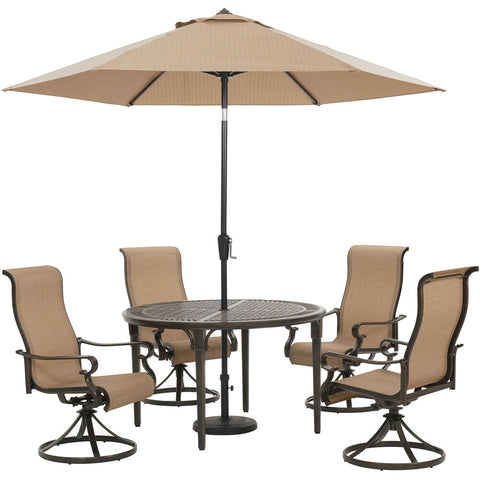 hanover-brigantine-5-piece-4-sling-swivel-chairs-50-inch-round-cast-table-umbrella-and-base-brigdn5pcswrd-su
