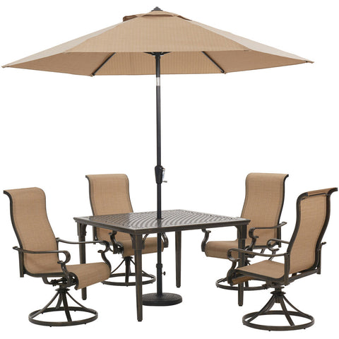 hanover-brigantine-5-piece-4-sling-swivel-chairs-42-inch-square-cast-table-umbrella-and-base-brigdn5pcswsq-su