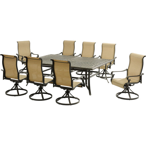 hanover-brigantine-9-piece-8-sling-swivel-rockers-60x84-inch-cast-dining-table-brigdn9pcsw8