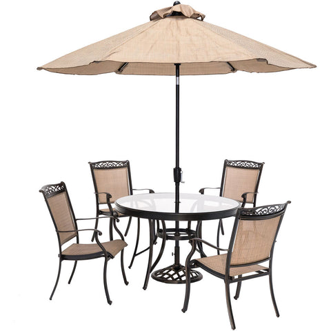 hanover-fontana-5-piece-4-sling-dining-chairs-48-inch-round-glass-top-table-umbrella-base-fntdn5pcg-su