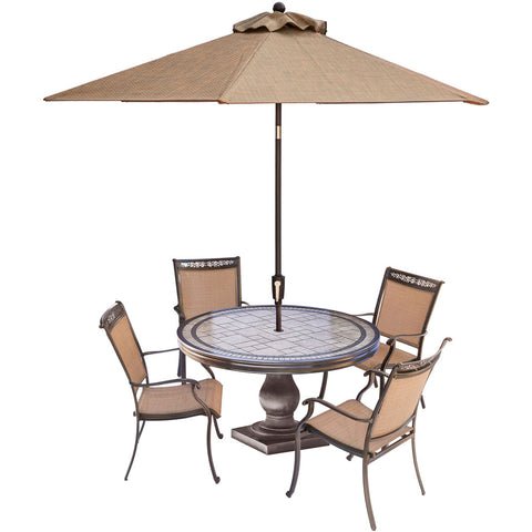 hanover-fontana-5-piece-4-sling-dining-chairs-51-inch-round-tile-top-table-umbrella-fntdn5pctn-su