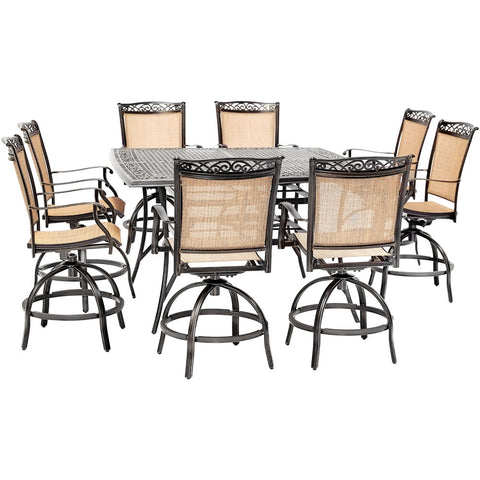 hanover-fontana-9-piece-8-counter-height-swivel-sling-chairs-and-60-inch-square-cast-table-fntdn9pcbrsq