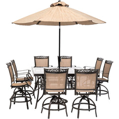 hanover-fontana-9-piece-8-counter-height-swivel-sling-chairs-60-inch-square-glass-table-umbrella-and-base-fntdn9pcbrsqg-su