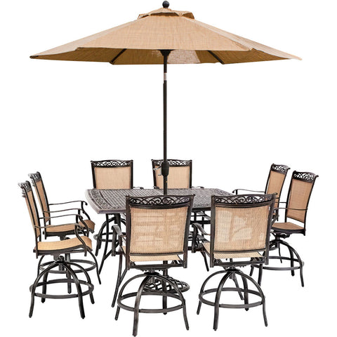 hanover-fontana-9-piece-8-counter-height-swivel-sling-chairs-60-inch-square-cast-table-umbrella-and-base-fntdn9pcbrsq-su