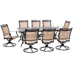 hanover-fontana-9-piece-8-sling-swivel-rockers-and-42x84-inch-cast-table-fntdn9pcswc