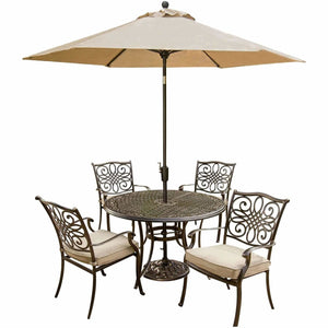 Hammond Adams 5Pc Outdoor Dining Set 4 Chairs & Round Table - M&K Grills