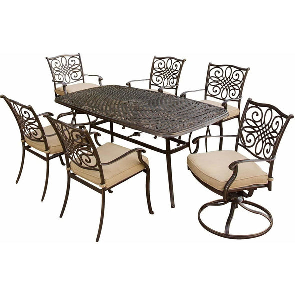 Hammond Adams 7Pc Outdoor Dining Set 4 Chairs 2 Swivel & Dining Table - M&K Grills